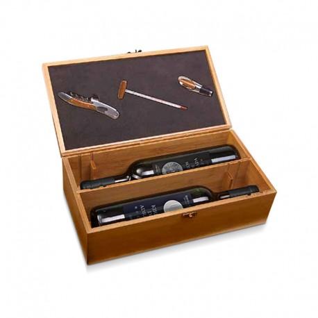 Estuche de madera con accesorios para vino y pack Kirios de Adrada