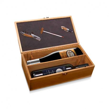 Estuche de madera con accesorios para vino y 1 botella de vino Kirios de Adrada noche y 1 botella de Ácrata Monastrell